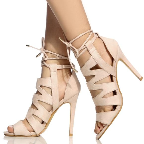 Shoes - Lola Beige Faux Suede Cut Out Lace Up Heels